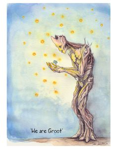 The print from my watercolor, gouache and pencil illustration We are Groot. It features Groot from Guardians of the Galaxy with a flower and little,