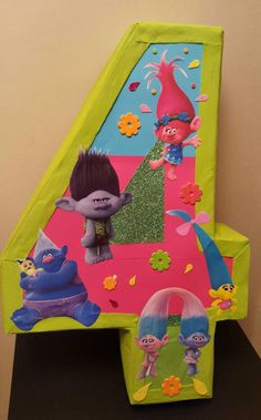 Number pinata inspired by Trolls