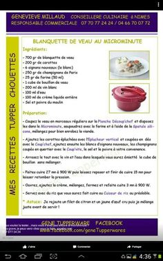 Blanquette de veau Cocotte Minute Tupperware, Tupperware Pressure Cooker, Tupperware Recipes, Slow Cooker, Micro Onde, Clowns, Gopro, Recipes, Apples