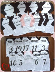Team Bride Bridal wedding party personalized 3/4 sleeve reglan tee t-shirts Bride Mother of the Bride maid matron of honor bridesmaid by CustomDesigns43 on Etsy https://www.etsy.com/listing/191859520/team-bride-bridal-wedding-party