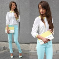 white and yellow blouse, sky blue/mint skinny jeans & white heels with white and yellow clutch