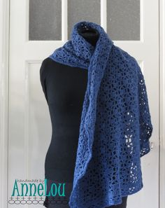 Soft crocheted lace scarf in denim blue by HandmadeByAnneLou on Etsy