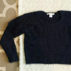 """Deep blue fuzzy cropped sweater A gorgeous midnight blue. Super cozy. Brand new without tags.  50 acrylic / 50 nylon.  17.5"""" length. Sans Souci Sweaters"""