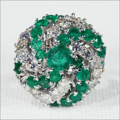 Vintage Emerald and Diamond Cocktail Ring, c. 1960 White Gold