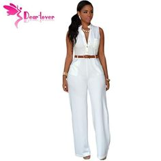 (29.34$) DearLover Fashion Big Women Sleeveless Maxi Overalls Belted Wide Leg Jumpsuit 7 Colors S-2XL Plus Size macacao long pant LC60932
