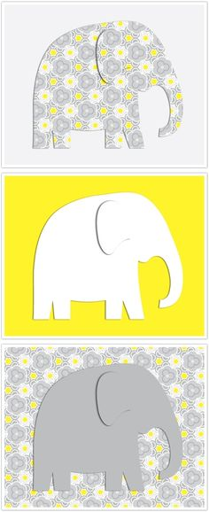Free Gray & Yellow Elephant Printable--too cute for picture frames for baby room