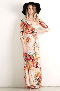Creme De La Creme Floral Wrap Maxi Dress