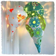 Lamp/lantaarn van papier mache