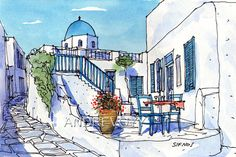 Sifnos Square art print from an original watercolor painting