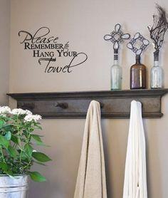 Please remember to hang your Towel Bathroom Wall Decal | CountryCraftsandVinyl - Housewares on ArtFire