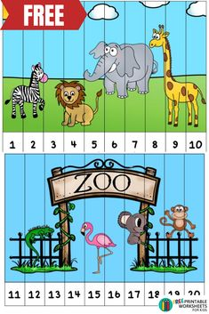 perfect addition to a zoo themed learning unit , teach preschool and kindergarteners numbers with this simple to prep activity Zoo Activities Preschool, Zoo Animal Activities, Teach Preschool, Zoo Animals, Wild Animals, Kids Zoo, Business For Kids, Tiger Cubs, Tiger Tiger