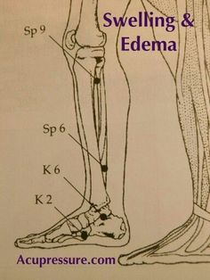 SWELLING & EDEMA RELEIF: Hold on the arch & point for 2 minutes 3 times daily located 4 fingers width above your inside anklebone in a slight dip behind the bone. Its tender to pressure. Practice the vigorous easy leg exercise below and eliminate salt. Acupuncture For Anxiety, Acupuncture Benefits, Acupuncture Points, Acupressure Points, Lymph Massage, Massage Tips, Massage Therapy, Acupressure Therapy, Acupressure Treatment