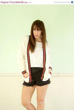 15% off Presidents Day... Varsity Stripe 80s White Cardigan Sweater - Vintage - S M Petite - Orange and Navy Blue
