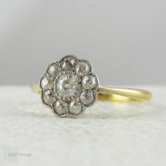 RESERVED. Art Deco Diamond Daisy Engagement Ring. Old Mine by Addy
