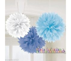 Blue and White Large Fluffy Pom Pom Hanging Decorations (3ct)