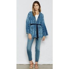 Current/Elliott The Kimono Jacket (£93) ❤ liked on Polyvore featuring outerwear, jackets, kyoto print, print jacket, blue kimono, print kimono, pattern jacket and current elliott jacket