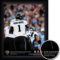 Jacksonville Jaguars NFL Football - Personalized QB Action Hero Print / Picture. Thrilling game-day photos make your greatest football fan the on-field hero with our Personalized NFL Jacksonville Jaguars Action Hero Prints. Our most exciting sports print displays your name in true-life NFL photographs as YOU make game-winning manoeuvres. Optional framing with mat is available. Perfect for gifts, rec room, man cave, office, child's room, etc. ( www.oakhousesportsprints.com )