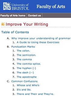The University of Bristol: Improve Your Writing.