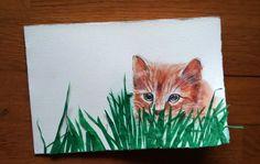 Gattino nell'erba, acquerello e collage