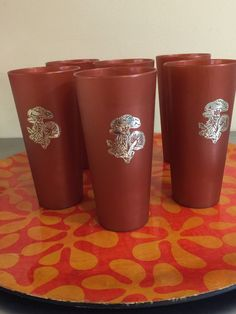 Mushroom Tumblers Set of 6 Burnt Orange and by PineStreetPickers
