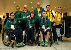Members of the Australian Paralympic sailing team arrive at Heathrow's Terminal 1 ahead of next week's Opening Ceremony
