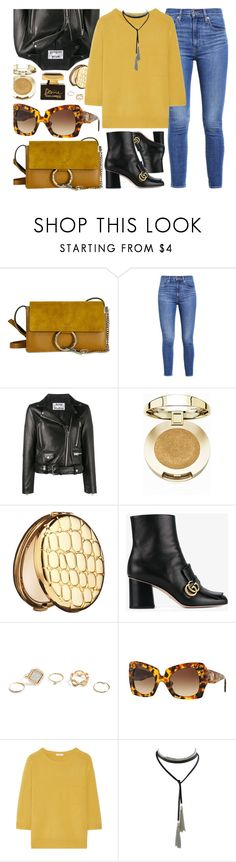 """Sunday"" by smartbuyglasses-uk ❤ liked on Polyvore featuring Levi's, Acne Studios, Milani, Estée Lauder, Gucci, GUESS, Versace, Chloé, Dolce&Gabbana and yellow"