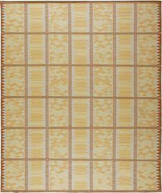 Swedish Rugs, Scandinavian Rugs:Geometric yellow Swedish Scandinavian rug from Doris Leslie Blau. Features hand knotted wool, geometric pattern #swedishrug #scandi #scandinavianrug #scandinavianinterior