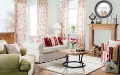 Obývačka oblečená do ruží    #obyvacka#zavesy#potahnasedacku#ikea#kreslo Sofas, Beautiful Homes, Ikea, Curtains, Mirror, Furniture, Home Decor, Small Condo, Asylum