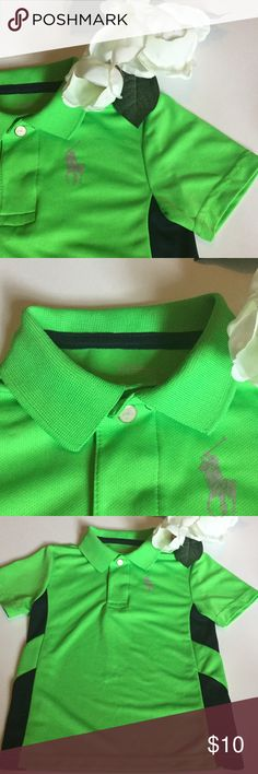 ⚜3t Polo Ralph Green short sleeve polo⚜ Authentic Polo Ralph Lauren green with navy blue  accents and classic Polo emblem in silver⚜100% polyester⚜snap buttons with RL engraved⚜tiny snag see pic four⚜Residue from removing iron on child's name sticker⚜in good used condition Polo by Ralph Lauren Shirts & Tops Polos