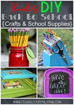 Homemaid Painted Apple Mason Jar Pencil Holder, Knife Block Pencil Holder, DIY Lap Desk, and Chalkboard Sandwhich Container plus more Kids DIY Back to School Crafts & School Supplies on Frrugal Coupon Living.