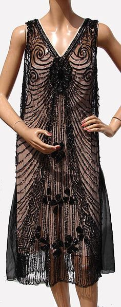 20s Black Sequin on Net Flapper Dress - totally awesome