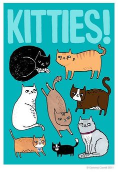 Kitties! by gemma correll, via Flickr