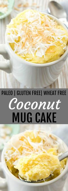 Coconut Mug Cake. This fluffy mug cake is paleo, gluten free and wheat free. It cooks in the microwave in less than 2 minutes! # mug cake Coconut Mug Cake (Paleo, Gluten Free) Gluten Free Mug Cake, Paleo Mug Cake, Vegan Mug Cakes, Cake Vegan, Gluten Free Desserts, Gluten Free Recipes, Gluten Free Coconut Cake, Low Carb Mug Cakes, Keto Desserts