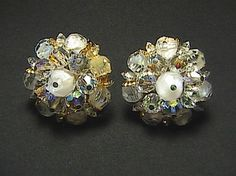 Fashion So Sparkly Clear Rhinestone Clip On Earrings, stamped laguna. Clear Rhinestone changes different colors.