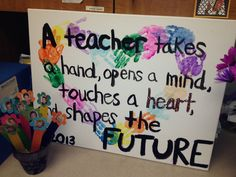 Kids' handprinted heart with quote for teacher making a card like this for Madison's teacher