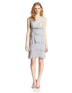 Jessica Howard Womens Cap Sleeve Lace Top Flutter Skirt Dress Silver 10 -- Want… - https://sorihe.com/fashion01/2018/03/05/jessica-howard-womens-cap-sleeve-lace-top-flutter-skirt-dress-silver-10-want/