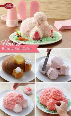 Think this oh-so-cute bunny butt cake is too complicated to make? Think again! The Betty Crocker editors walk you through the whole process step by step, including play-by-play photos! No wonder this is one of our most highly rated Easter recipes. Betty Crocker, Easter Dinner, Easter Brunch, Easter Weekend, Easter Party, Holiday Desserts, Holiday Treats, Holiday Parties, Easter Treats