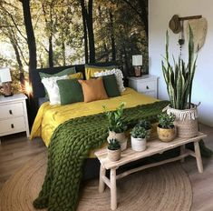 Because the living room is the reception room par excellence, the choice of furniture and decoration is particularly important. Our living room is also a cocoon from which the… Continue Reading → Bedroom Green, Home Bedroom, Bedroom Ideas, Bedroom Designs, Earthy Bedroom, Bedroom Inspiration, Green Bedding, Master Bedroom, Bedroom Decor Natural