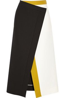 Fendi Color-block cotton-crepe wrap skirt | NET-A-PORTER