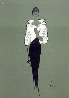 Fashion illustration by Rene Gruau, 1950
