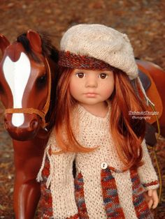 Beautiful OOAK HandKnit Dress plus Beret for Gotz HappyKidz/Hannah dolls by Debonair Designs, $39.95 on ebay