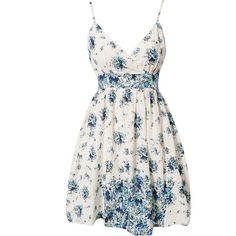Rut&Circle Wrap Flower Dress (€29) ❤ liked on Polyvore featuring dresses, vestidos, short dresses, tops, blue patterned, party dresses, womens-fashion, short white dresses, mini dress and blue cocktail dress