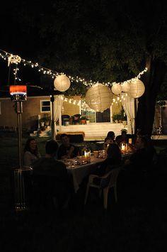 Domestic Fashionista: Backyard Party Lights Backyard Party Lighting,  Graduation Decorations, Graduation Ideas