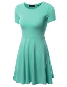 5cbe91a4552 Doublju Womens Essential Short Sleeve Round Neck Empire Mini Dress With  Plus Size MINT 2XL