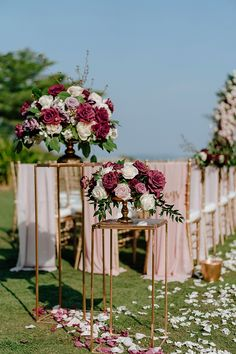 Romantic blush and burgundy wedding ceremony floral arrangements and decor - Madiow Photography Burgendy Wedding, Burgundy And Blush Wedding, Dusty Rose Wedding, Floral Wedding, Outside Wedding Ceremonies, Wedding Ceremony Flowers, Wedding Ceremony Decorations, Outdoor Wedding Aisle Decor, Wedding Ideas