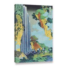 ArtWall Katsushika Hokusai Ono Waterfall on the Kisokaido Gallery-Wrapped Canvas, Size: 32 x 48, Green
