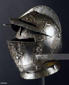 Stock Photo : Horserider helmet in embossed steel, circa 1590, France, 16th…