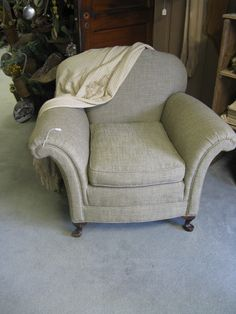 Vintage reupholstered slipper chair in a nubby linen...oh so comfy!