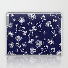Indigo Floral Trail Laptop & iPad Skin by Rebecca Stoner