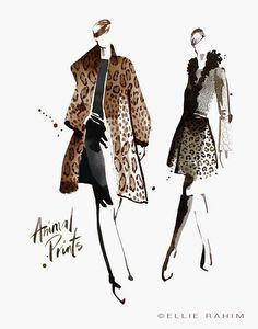 Fashion illustration // Ellie Rahim Animal Print Fashion, Fashion Prints, Fashion Art, Paper Fashion, Animal Prints, Fall Fashion Trends, Fall Trends, Autumn Fashion, Fashion Design Drawings